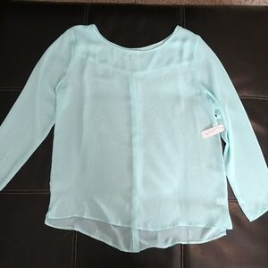 NWT light teal sheer long sleeve women's large